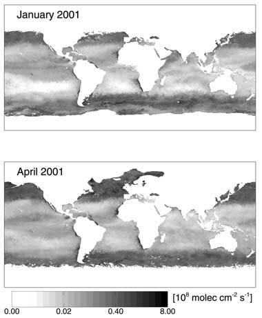 Flujos de Isopreno en el océano medidos mediante el uso de satélites.