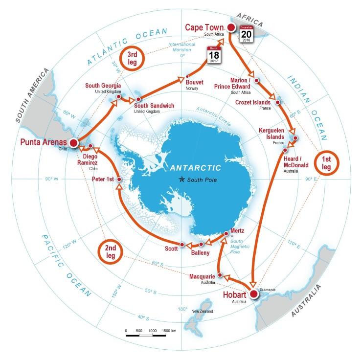 Expedición para la Circunnavegación Antártica (ACE). Fuente: Swiss Polar Instiute (SPI).